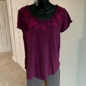 Loft Short Sleeve Embroidered Top